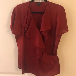 Lauren burgundy silk-like wrap short sleeve top 12